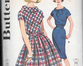 Vintage 1960s Butterick Sewing Pattern 9787- Misses' Dress size 12 Bust 32