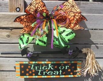 Halloween Door Decor Trick Or Treat Door Decor Spider Web Door Decor Bat Door Decor Bat Sign Trick Or Treat Sign Witch's Broom Door Decor