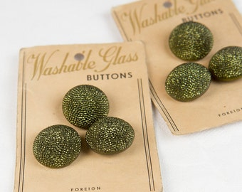 2x3 1950's Emerald Green & Black Washable Glass Buttons  - on original cards