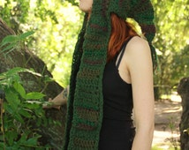 MADE TO ORDER Spirit hood from the forest, green and brown, earthy and forest tones, fairy clothing, freeform crochet, hoodie, hood, ooak