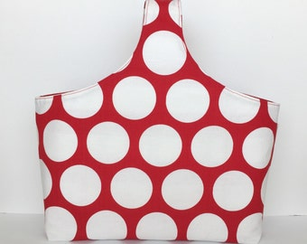 SALE!! Red Stripe Polka Dots Knitting Project Bag, Knitting Tote, Canvas Tote, Reversible, Knitters Tote Bag, Market Bag, Yarn Tote Bag