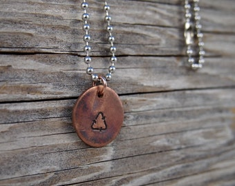 Recycle Symbol Copper Charm Necklace