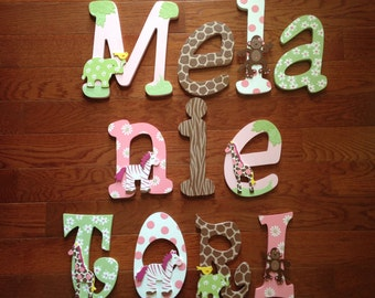 Custom Hand-Painted Letters CARTERS JUNGLE JILL Pink Zoo Animal Print Nursery Crib Bedding Personalized Wood Name... Priced Per Letter