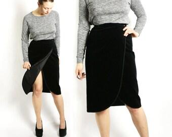 Black velvet skirt | Etsy