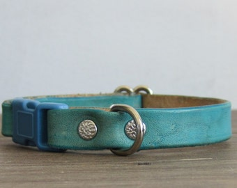 Adjustable Turquoise Leather Cat Collar - Safety Breakaway Leather Cat Collar