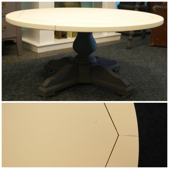 Free ship vintage coffee table with round surface by for Large cream coffee table