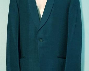 Man's Vintage Blue Silk Blend Rockabilly Blazer Jacket