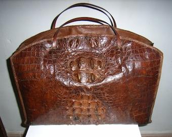 vintage- crocodile leather handbag, vanity, briefcase  30s