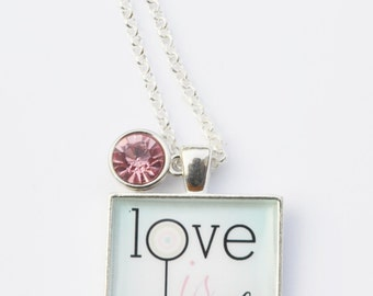 Love is Sweet Square Pendant Necklace
