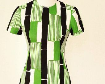 Green and Blue Mod Shift Dress