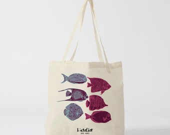 X158Y Tote bag fish, bag cotton, bag canvas, tote bag, shopping bag, beach bag, handbag, bag and tote bag, bag