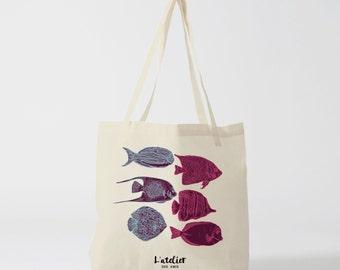 Tote bag fish, bag cotton, bag canvas, tote bag, shopping bag, beach bag, handbag, bag and Tote, bag, shopping bag
