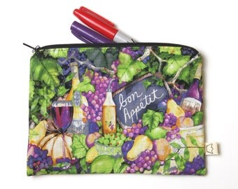 Food and wine zipper pouch, pencil case, bon appetit cosmetic pouch