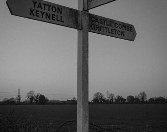 10x8 Download, Signpost, Yatton Keynell, Wiltshire, black and white photograph, wall art, computer wallpaper, screensaver