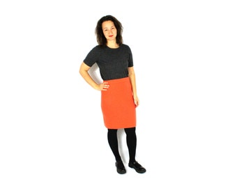 Vintage 90s Wool Knit Skirt High Waisted Orange Midi  1990s Warm Bodycon Salmon Knitwear / Medium Large