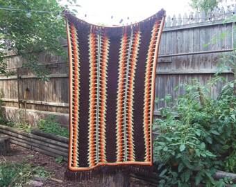 Vintage 1970s Orange Yellow Brown Afghan Blanket / Throw / Crocheted Blanket