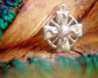 Solar Cross Charm ~ Sterling Silver Pendant