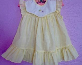 Vintage Yellow Butterflies Dress. Vintage Embroidered Butterflies Dress. Pale Yellow Butterfly Dress. Vintage Spring / Summer Dress. 6 month