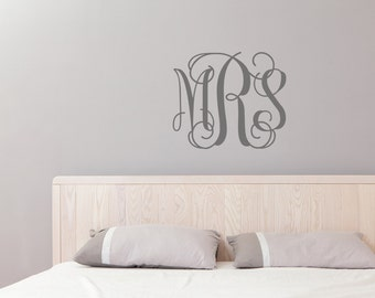 Ordinaire Monogram Wall Decal, Nursery Decal, Initial Wall Decal, College Dorm Room,  Custom