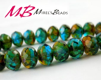 8x6mm Blue, Green, and Amber Rondelles, Faceted Picasso Rondelle, 15 pcs Czech Glass, Puffy Donut Beads