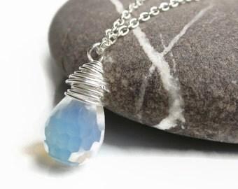 Opal Necklace, October birthstone necklace, Opal pendant, Silver necklace, sterling silver necklace, opal drop necklace, necklace uk