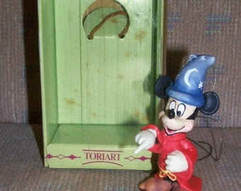 Reduced: Vintage Toriart by Anri Handcrafted Wooden Disney Mickey Mouse Sorcerer Apprentice Christmas Ornament in Original Box