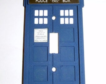 Doctor who tardis light switch and outlet plate by for Tardis light switch cover