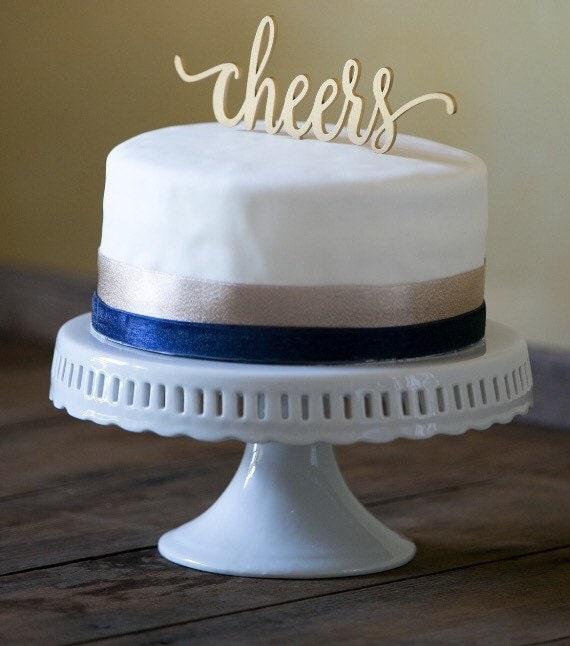 Cheers Cake Topper, Birthday Cake Topper,  Wedding Cake Topper, Rustic Cake Topper, Wooden Cake Topper, Rose Gold Cake Topper, Glitter Cake