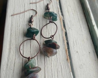 Rustic Wire and Stone Hoops *** Free US Shipping ***