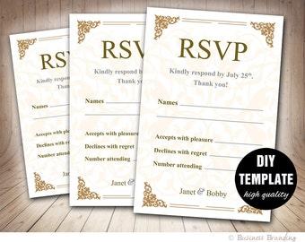 Gold Wedding RSVP Template,Printable RSVP Wedding Response Card,Instant Download Gold RSVP Card,Diy Rsvp Card in Gold