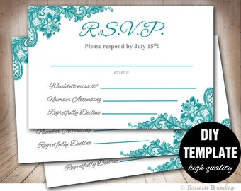 Teal Wedding RSVP Template,Lace Wedding Response Card, Printable RSVP Card, RSVP Wedding Printable