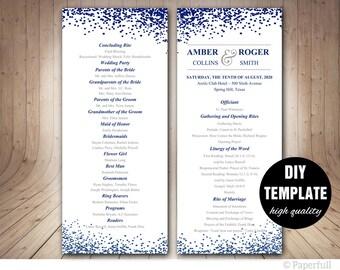 Modern Wedding Program TemplateNavy Blue TemplateBlue Double Sided