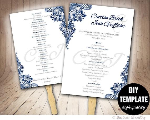 wedding programs fan template diy instant download printable wedding