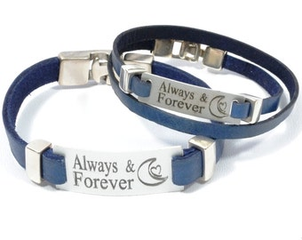 Always and Forever personalized couples bracelets, sisters forever, couples jewelry, inspirational quote jewelry, aluminum jewelry