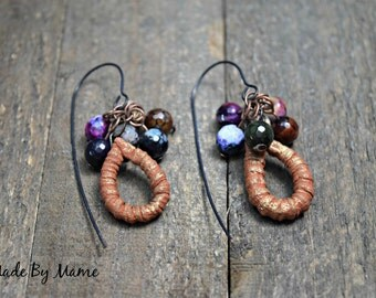 Rustic Boho Dangle Earrings, Gemstone Earrings, ScorchedEarth Ceramic Hoops, Textured, Organic, Earthy, Bohemian Jewelry, Gypsy, Handmade