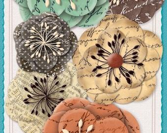 Vintage Script Paper Flowers-Paper Crafts-Scrapbooking-Jolee's Boutique
