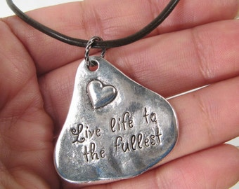"""Silver Plated """"Live life to the fullest""""  Metal Pendant Brown Leather Cord Necklace (B6)"""