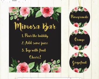 mimosa bar sign juice labels mimosa bar printable sign black and gold labels bridal shower bar wedding bar mimosa sign juice bar labels