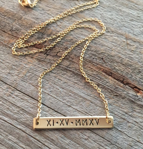Roman Numeral Necklace Gold Bar Necklace Personalized