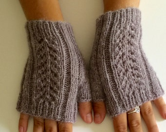 Hand knit fingerless gloves, lambswool texting gloves, lace fingerless gloves