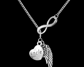 Uncle Angel Necklace, Infinity Guardian Angel Wing Uncle In Heaven Memory Y Lariat Necklace