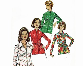 Mandarin Collar Zip Front Top Pattern Mod Wide Collar Top 1970s Sewing Pattern Simplicity 6466 Bust 36 UNCUT