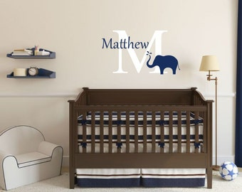 Elephant Wall Decal Baby Name Decal Elephant Vinyl Decal Name Wall Decal Nursery Wall Decal Nursery Wall Decor Baby Bedroom Decal