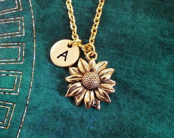 Sunflower Necklace SMALL Sunflower Jewelry Personalized Jewelry Flower Girl Necklace Sunflower Charm Necklace Flower Necklace Flower Jewelry