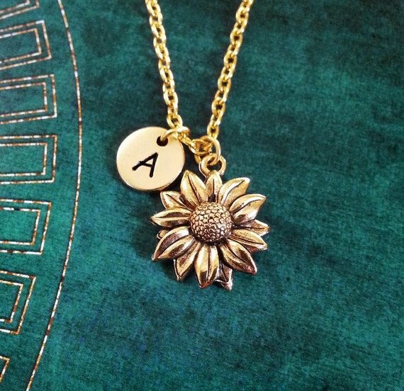 Sunflower Necklace Small Sunflower Jewelry Personalized