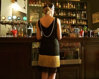 Great Gatsby Black Dress //40% Off!// 20er Vintage Inspired Dress// Backless Dress//Robe Charleston //Lindy Hop Dress