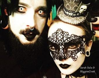 Gothic Masquerade Mask, Gothic Costume Mask, Gothic Girl Costume mask, Lace Mask for Women with Rhinestones, Halloween Mask, Mardi Gras Mask