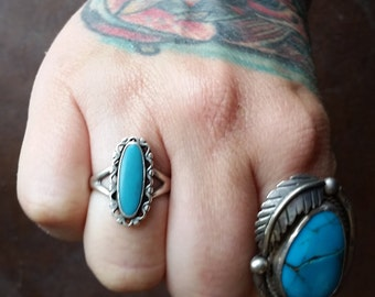 Native American Leadville Turquoise + Sterling Silver Ring Size 8.5