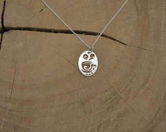 Adorable  coffee cup Necklace.-925 Sterling Silver.