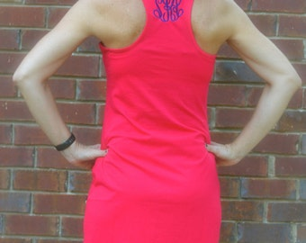 Racerback Tank DRESS  / Monogrammed/Bridesmaid Gift/ Beach Cover-Up